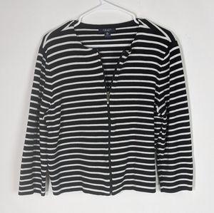Chaps black white striped zipper front jacket